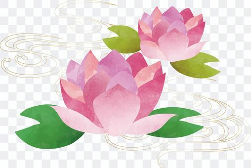 Japanese style handwritten lotus flower