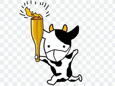 拿著手電筒和麵具奔跑的牛牛