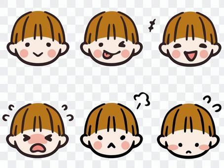 Boy facial expression face icon set