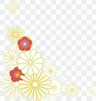 易於使用的優雅花日本圖案框架