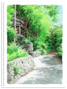 Analog watercolor Summer mountain road landscape