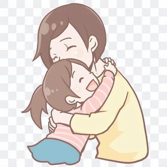 ハグする親子、ママ、娘