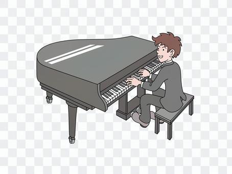一個年輕人彈鋼琴