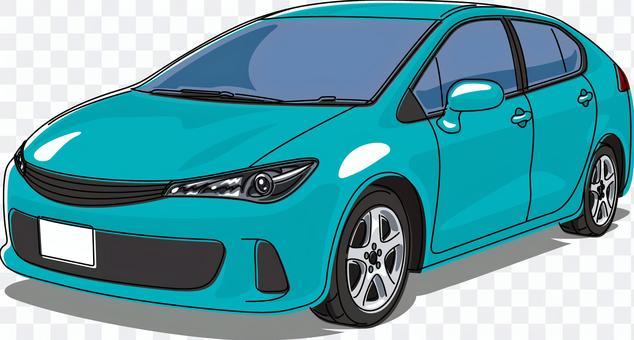 汽車乘用車線藝術藍色