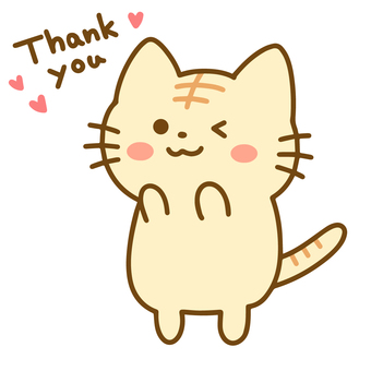 Tabby cat 2 standing and saying thank you