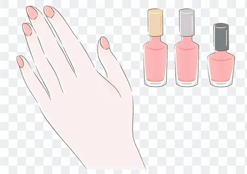 マニキュアピンク手の甲