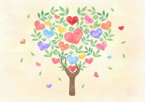 心形的樹_黃色背景1780