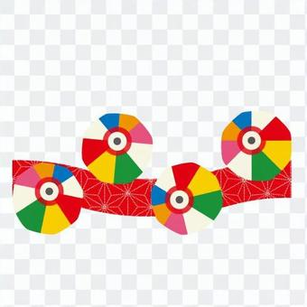 麻の葉文様と紙風船