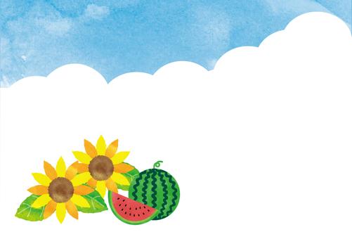 向日葵、西瓜和天空側身