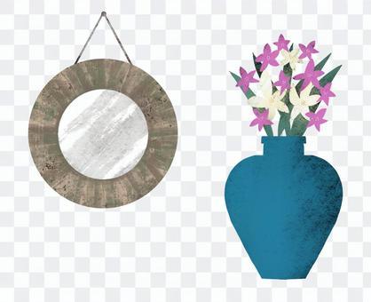 壁掛鏡子和花架