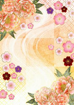 水彩風格的牡丹,日本花朵和垂直的方格的背景