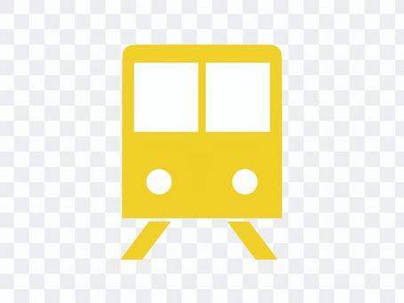 火車象剪影黃色