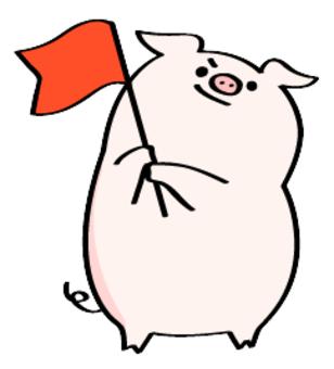 Pig waving flag