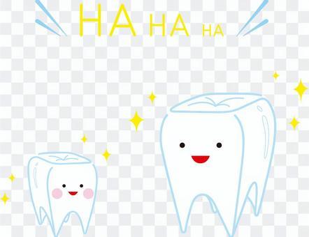 父母和孩子笑的牙齒