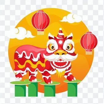 燈籠,雲朵和中國舞獅