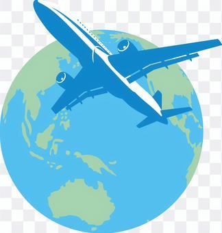 Airplane jet machine Earth