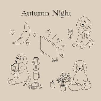 秋夜長放鬆小獵犬線描集