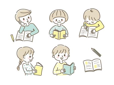 學習閱讀手繪線條藝術插圖的兒童