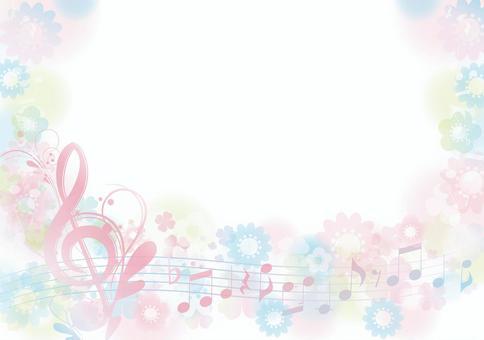 優雅的高音譜號花卉花園框架