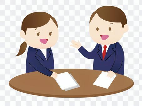 一個男人和一個女人開會