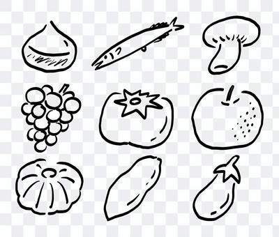 秋の味覚の手書きベクターイラストセット