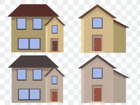 家 家庭 住宅 セット ベクター