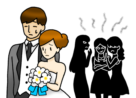 Shadowed illustration of the bride and groom who are said to be backbiting