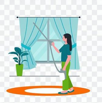 清潔窗簾的女人