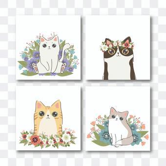 猫のカードテンプレート