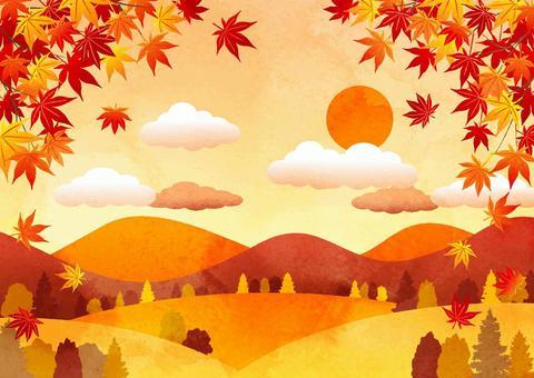 水彩風秋の里山背景ヨコ