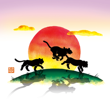三隻手繪跑虎和太陽虎賀年片