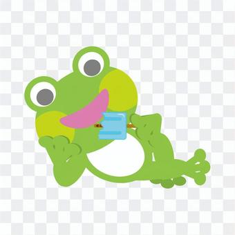 Frog (lying down and eating ice cream)