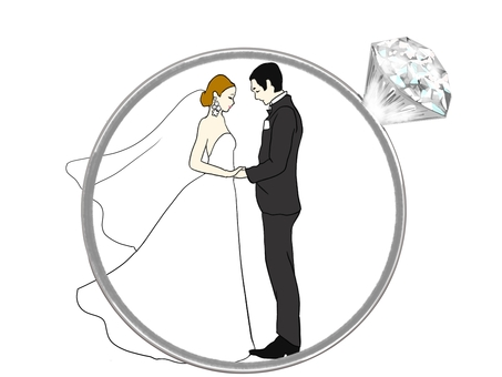 Two people in the wedding ring
