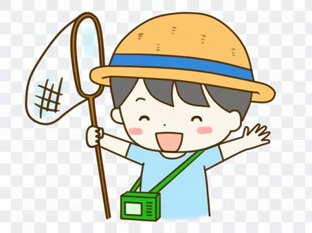 Boy catching insects