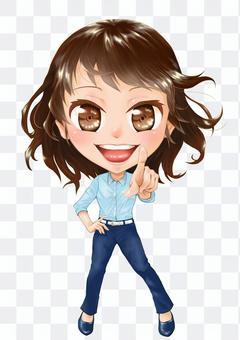 一個人的女人,指著一個微笑的插圖