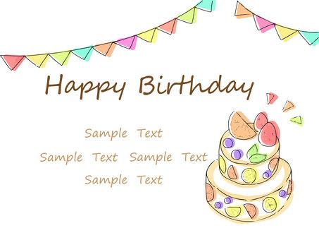 水果蛋糕生日賀卡