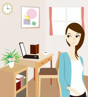女性的房间在家工作
