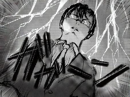 Shojo漫畫眼鏡英俊老師令人震驚閃電