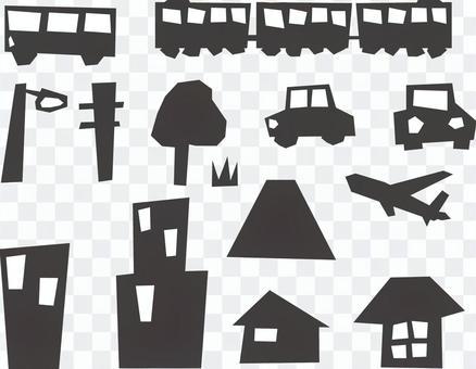 都市風景夜場面剪影例證