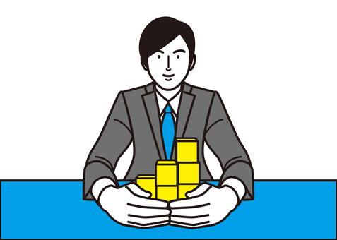 Businessmen surrounding building blocks