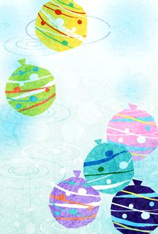 水彩風格的溜溜球和夏天的漣漪明信片垂直