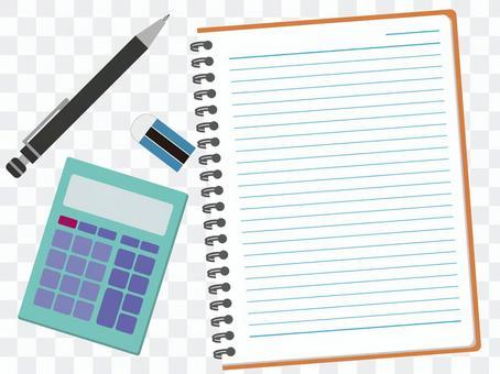 計算器和筆記本