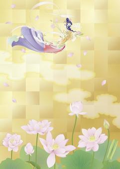 Renka _ Buddhist _ gold leaf lotus pond _ vertical size