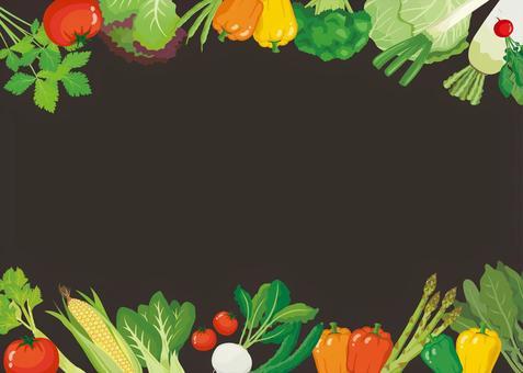 Blackboard-style vegetable background frame (horizontal type)