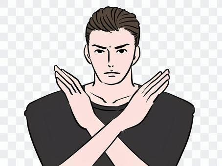 一個男人在一個被禁止的姿勢中有一個look的表情