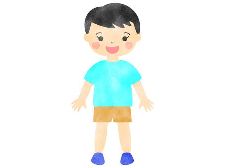 水彩風格的簡單男孩