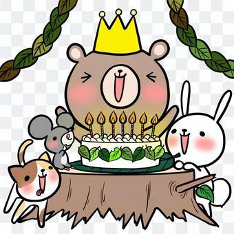 生日派對動物熊兔子老鼠