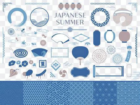 日本裝飾框和日本圖案(夏季)