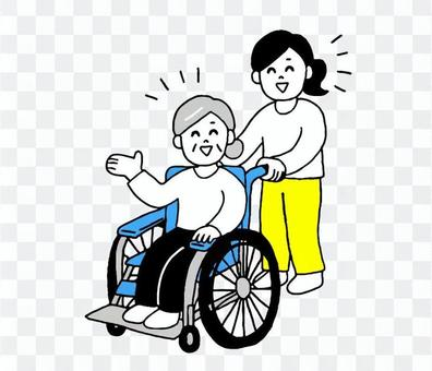老年婦女和坐輪椅的婦女(簡單)