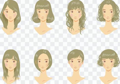 女性髮型各種灰